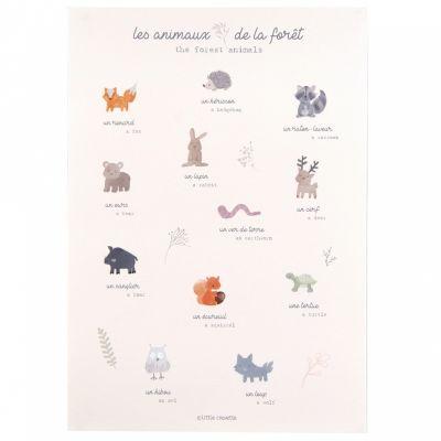 Affiche A3 Les animaux de la fôret Dream Forest  par Little Crevette