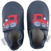Chaussons en cuir Soft soles bleu marine train (3-9 mois) - Bobux