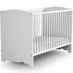 Lit à barreaux en bois de hêtre   Marelle blanc (60 x 120 cm)