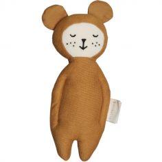 Hochet en coton bio ours ocre (17 cm)