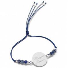 Bracelet cordon Rainbow Médaille bleu marine personnalisable (argent 925°)
