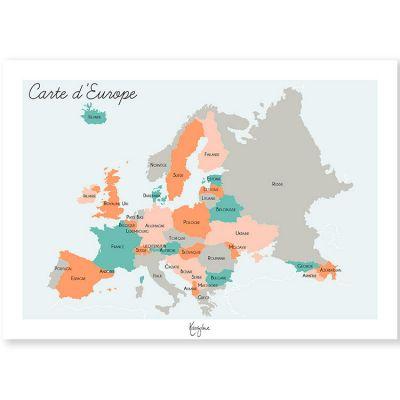 Affiche A3 Carte de l'Europe  par Kanzilue