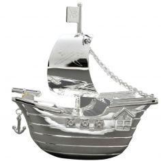 Tirelire Bateau de pirates (métal argenté)
