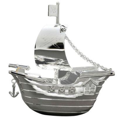 Tirelire Bateau de pirates (métal argenté)  par Daniel Crégut