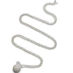 Bola sur chaîne argent Jasseron strass opal (argent, plaqué argent)