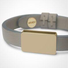 Bracelet cuir Hip-Hop Gris (or jaune 750° et cuir)