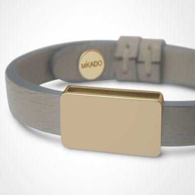 Bracelet cuir Hip-Hop Gris (or jaune 750° et cuir)  par Mikado