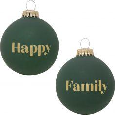 Boule de Noël verte Happy Family
