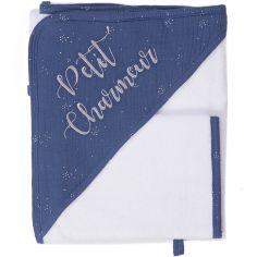 Cape de bain + gant Petit charmeur (70 x 70 cm)