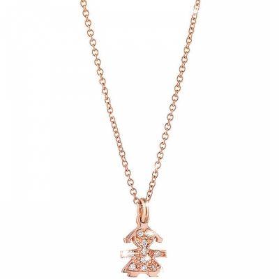 Collier sur chaîne Briciole symbole fille (or rose 750° et pavé de diamants)  par leBebé