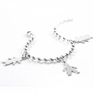 Bracelet chaîne boule 2 charms silhouette petit garçon ou 9b37222793d9