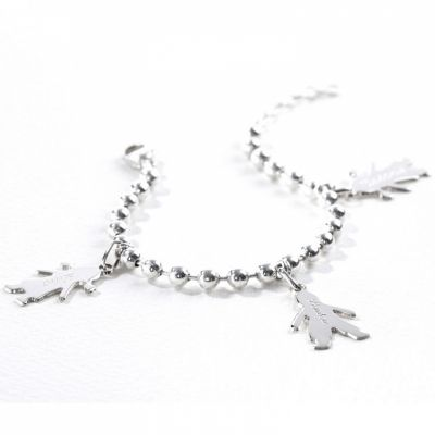 Bracelet chaîne boule 2 charms silhouette petit garçon ou 9d802c3cf691