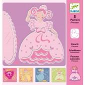 5 pochoirs à dessin Princesses - Djeco