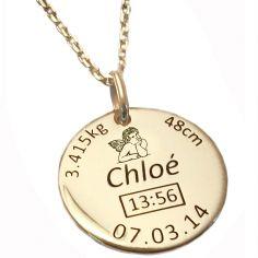 Médaille de naissance ange avec chaîne personnalisable (plaqué or jaune)