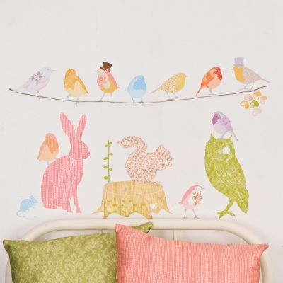 Sticker animaux fleuris Forest Critters girly (grand modèle)