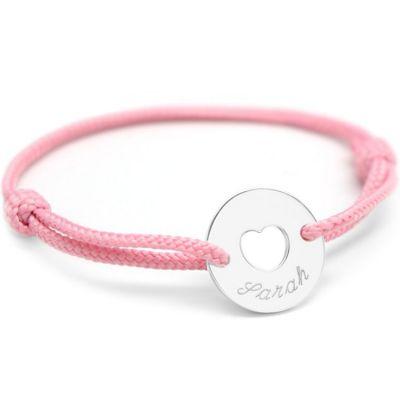 Bracelet cordon maman Mini jeton coeur (argent 925°)  par Petits trésors