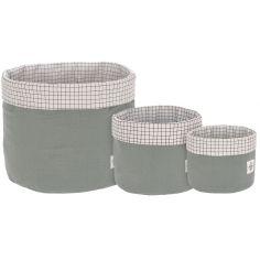 Lot de 3 paniers de toilette en mousseline vert