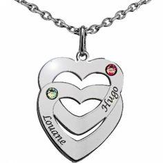 Pendentif coeur superposé avec Swarovski (argent 925°)