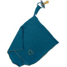 Doudou attache sucette en mousseline bleu paon