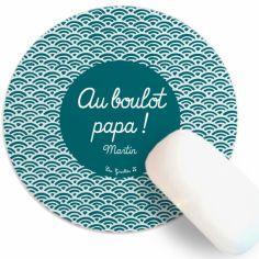 Tapis de souris Fête des Pères Eventail bleu vert (personnalisable)