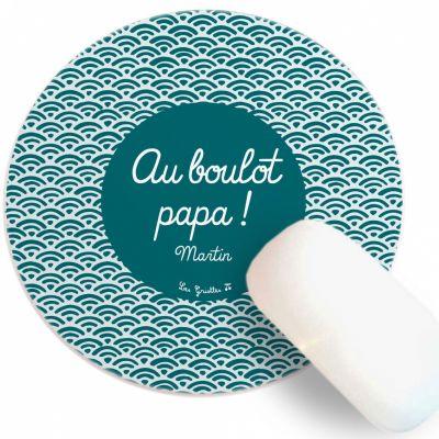 Tapis de souris Fête des Pères Eventail bleu vert (personnalisable) Les Griottes