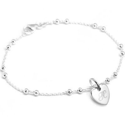 Bracelet chaîne perlée médaille coeur personnalisable (argent 925°)  par Petits trésors