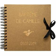 Album photo baptême personnalisable kraft et or (20 x 20 cm)