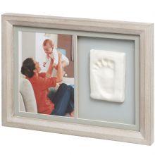 Cadre photo et empreinte Tiny touch bois cérusé  par Baby Art