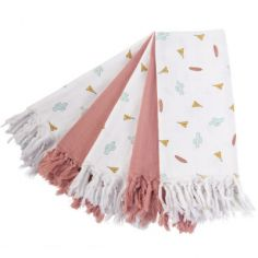 Lot de 5 langes Dreamy Tipi et Nude (63 x 63 cm)