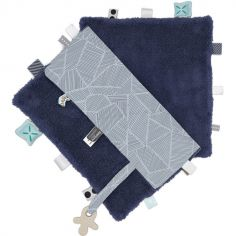 Doudou attache sucette Sweet Dreaming Midnight Bleu (25 x 25 cm)