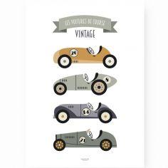 Affiche A3 Voitures de Course Vintage