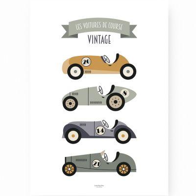 Affiche A3 Voitures de Course Vintage  par Lutin Petit Pois
