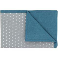 Couverture en coton réversible Nuages gris et bleu canard (100 x 70 cm)