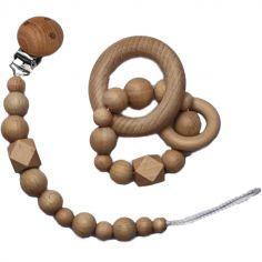 Coffret anneau et attache sucette de dentition Wood