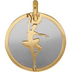 Médaille Danseuse personnalisable (acier et or jaune 375°)
