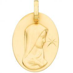Médaille ovale de la Vierge étoile 16 mm (or jaune 375°)
