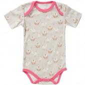 Body à manches courtes oiseau beige et rose en coton bio (3-6 mois : 60 à 67 cm) - Fresk