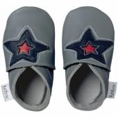 Chaussons bébé cuir Soft soles étoile gris (9-15 mois) - Bobux