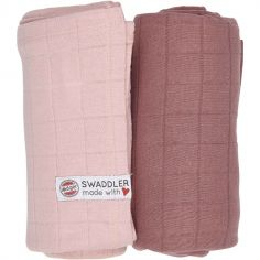 Lot de 2 maxi langes Sensitive Plush rose (120 x 120 cm)