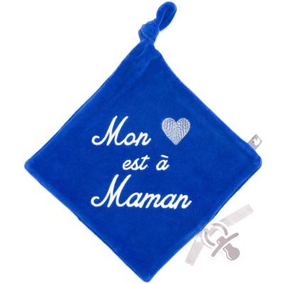 Doudou plat attache sucette Mon coeur est à maman  BB & Co