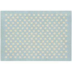 Tapis en laine Little Stars bleu clair (140 x 20 cm)