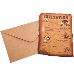 Lot de 8 cartes d'invitation Pirate