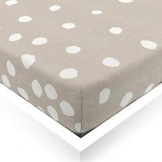 Drap housse en lin taupe Buttons (40 x 80 cm)