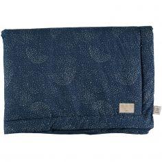 Mini couverture bébé Laponia coton bio Gold bubble Night blue (70 x 70 cm)