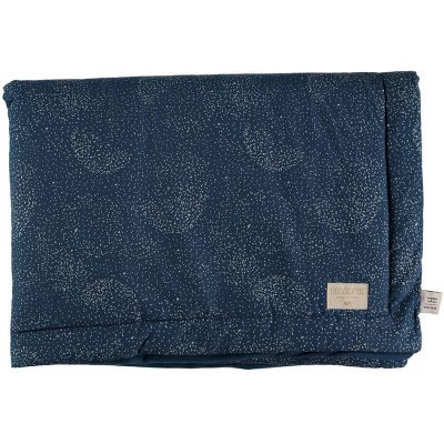 Mini couverture bébé Laponia coton bio Gold bubble Night blue (70 x 70 cm)  par Nobodinoz