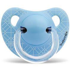 Sucette physiologique Panda bleu en silicone garçon  (0-6 mois)