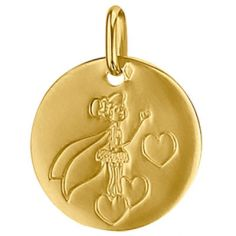 Médaille ronde Fée et coeur 16 mm (or jaune 750°)