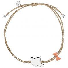 Bracelet cordon beige Spirit colombe (argent 925°)