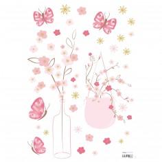Stickers A3 fleurs et papillons Cherry Blossom by Léanie (29,7 x 42 cm)