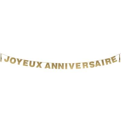 Guirlande à tassel Doré Joyeux anniversaire paillettes